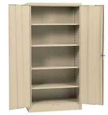 "Metal Storage Cabinet Steel Locking With Doors Lock Garage Shop 72"" Tall Putty"