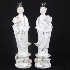 "Pair of Guanyin Kwan Yin Mercy Goddess Porcelain Figurines Statues 8"" tall New"