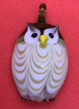 Beautiful large Owl, Lampworked Glass Focal Bead, 46x30mm White