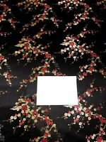 Fabric Silk Brocade Black and color Red/Gold Floral  -by half yard-