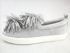 16cdc79b85e0 SAM EDELMAN Sneakers Emory Silver Metallic Pom Pom Shoes US 9 EU 39 New