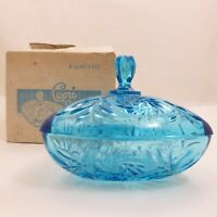 Vintage HazelWare Capri Blue Pressed Glass Lid Covered Candy Dish w/ Box B-6045