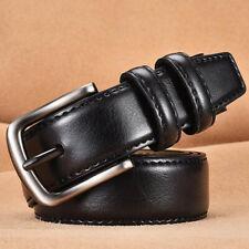 Genuine Leather Men's Belt Classic Retro Reversible Sizes Pin Buckle Waistband