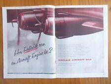 12/1953 PUB SINCLAIR AIRCRAFT OIL AIRCRAFT ENGINE AIRLINES ORIGINAL AD