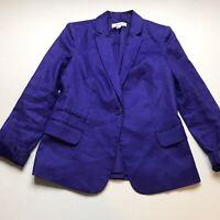 Calvin Klein Purple Linen Blend One Button Blazer Jacket Size 6 A586
