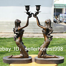 Western Bronze Marble belle hold the bird Candle Holders pair Art Deco Sculpture