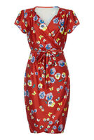 Yumi Curves Women's Red Pansy Print Wrap Dress Size 24 New With Tags