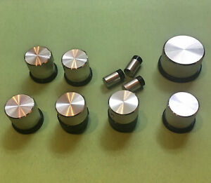 Complete 10 Piece Set of Vintage Fisher Receiver Aluminum Knobs and Push-Buttons