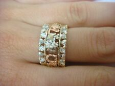 """AMAZING 14K MULTI-COLOR """"LUCKY"""" LADIES DIAMOND BAND-RING, 12 MM WIDE, SIZE 8"""