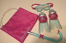 American Girl authentic Scuba set snorkel, mask and flippers with carry bag