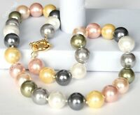 8mm AAA Multicolor South Sea Shell Pearl Necklace Set 18""
