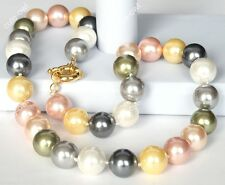"Shell Pearl Necklace Set 18"" 8mm Aaa Multicolor South Sea"