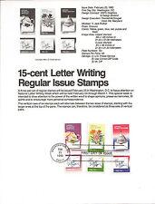 15c LETTER WRITING WEEK 1980 SOUVENIR PAGE SCOTT # 1805-1810 SP483 FDC
