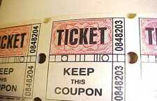 Raffle Tickets 2-Part 498 Consecutively Numbered NEW Special Events Admissions