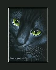 Black Cat ACEO Print Asking by I Garmashova