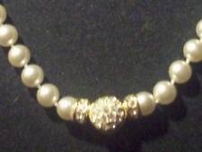 Gold Tone Faux Pearl Beaded Necklace Front Reversible Snap Closure w/Rhinestones