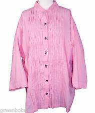 New Silhouettes Woman Pink Tucked Voile 3/4 Sleeve Button-up Shirt Size XL/0X