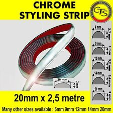 20mm x 2,5m CHROME CAR STYLING MOULDING STRIP TRIM ADHESIVE