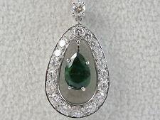 Platinum Emerald Diamond Necklace Tear Drop Pear Shape 14K White Gold