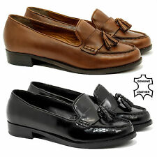 WOMENS LADIES FLAT CASUAL OFFICE PATENT REAL LEATHER FRINGE TASSEL LOAFERS SHOES