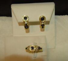 14K Solid Yellow Gold Diamond Sapphire Omega Pierced Half Hoop Earrings Ring Set