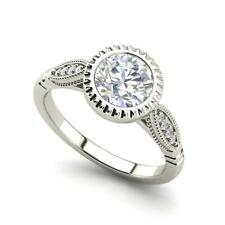 Bazel Shared Prong 2.65 Carat SI1/D Round Cut Diamond Engagement Ring White Gold