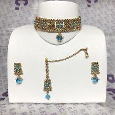 Gold & Blue Choker Necklace Earring & Tikka set Bollywood Pakistani Style