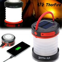ThorFire LED Solar Camping Lantern Collapsible Mini Light Torch USB Rechargeable