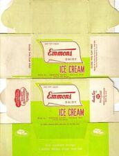 EMMONS ICE CREAM CARTON, DATED 1947 UNUSED (STILL FLAT