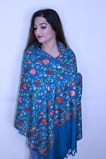 UK Luxurious Hand Embroidered Shawl Scarf Stole Hijab Kashmiri Wool Turquoise