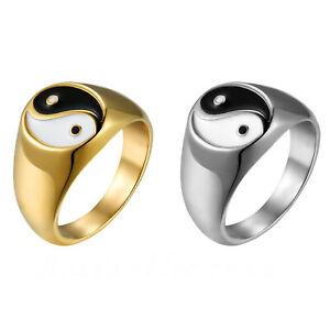Mens Stainless Steel Tai Chi Yin Yang Bagua Balance Ring Signet Band Size 7-12