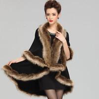 Women's Cloak Big Soft Fur Shawl Cape Knitted Thicken Warm Coat Outwear