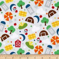 3 yd  Farm  Cotton Fabric Barn Windham Fabrics  Gray    BFab