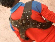 Leather Studded Holster (Brown) - Steampunk Burner Shoulder Utility Pouch Bag