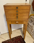 Vintage Oak Watchmaker's Parts Chest On Stand