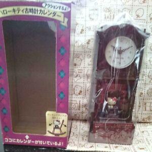 Sanrio Hello Kitty Old clock calendar Wall clock w/Box Super Rare Retro Limited