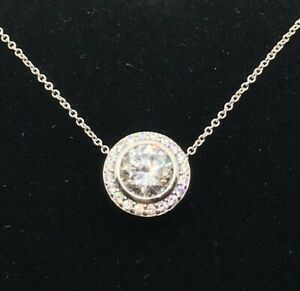 925 Sterling Silver Cubic Zirconia Woman's Round Necklace