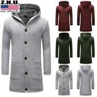 Mens Hooded Trench Coat Casual Hoodie Long Cardigan Jacket Button Front Outwear