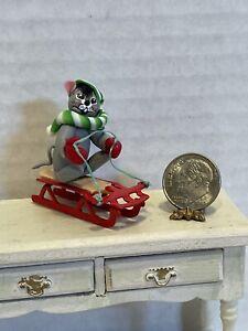 Vintage Artist ARLETTE EVANS 89' Adorable Mouse on Sled Dollhouse Miniature 1:12