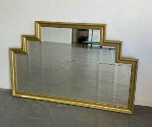 Large Gold Art Deco Fireplace Mantle Mirror Wall Mounted Luxurious Good Con