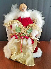 Angel Tree Topper Red Faux Velvet Dress White Fur Trim Gold Accents 12""
