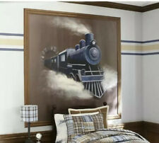 Vintage Pottery Barn Kids Wall Art Train Mural 6'x6'