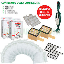 Kit Risparmio Ricambi Folletto VK 135 136 Sacchetti Filtri Profumi (NO 150 140 )