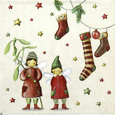 4x Single Paper Napkins -Christmas Fairies- for Party, Decoupage