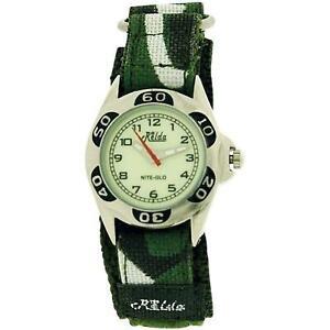 Relda Kids Nite-Glo Quartz Luminous Dial Army Green Easy Fasten Boys Watch REL64