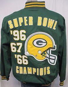 Green Bay Packers NFL Men's Full Zip Reversible Cotton Twill Super Bowl Jacket