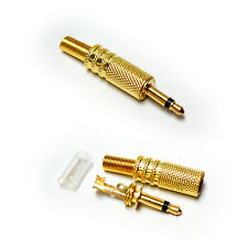 GOLD 3.5mm Mono Jack Plug Solder Connector - AUX Audio/Video Male to Mixer Amp