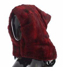 NWT $2300 DOLCE & GABBANA Bordeaux Hamster Fur Crochet Hood Scarf Hat Wrap