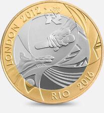 2012 OLIMPICHE HANDOVER Londra 2012 Rio due POUND MONETA Hunt 24/32 RARE 2