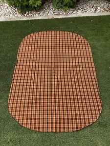 "Vintage Halloween Plaid Oblong Knit Tablecloth 80"" X 56"""
